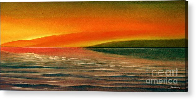 Sunset Acrylic Print featuring the painting Sunrise Over The Sea by Christian Simonian