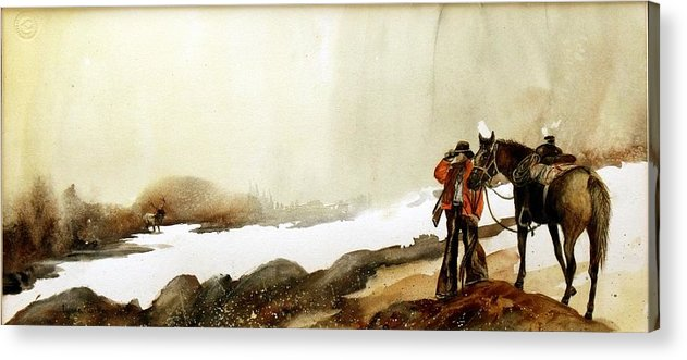 Horse And Rider Acrylic Print featuring the painting Hey Back Here by Lynne Parker