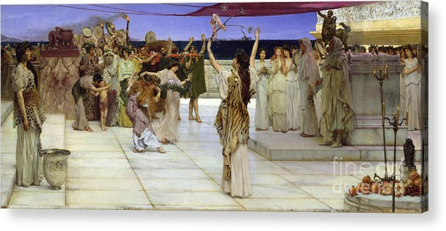 Dedication Acrylic Print featuring the painting A Dedication To Bacchus by Sir Lawrence Alma Tadema