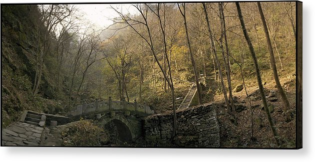 Landscape Trees Trail Bridge Forest Panoramic China Acrylic Print featuring the photograph Ancient Mountain Trail by Ty Lee
