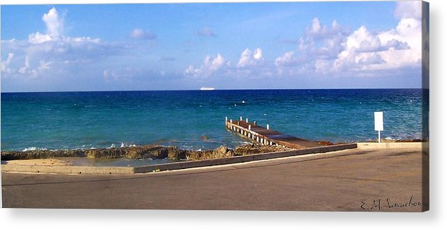 Cayman Acrylic Print featuring the photograph Cayman Dock by Elise Samuelson