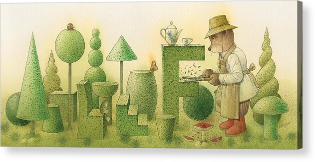 Garden Bears Flowers Green Landscape Nature Acrylic Print featuring the painting Florentius The Gardner24 by Kestutis Kasparavicius