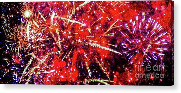 Fireworks Acrylic Print featuring the photograph Honolulu Fireworks by D Davila