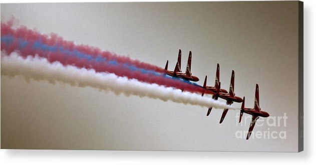 Red Arrows Acrylic Print featuring the photograph In One Row by Angel Ciesniarska
