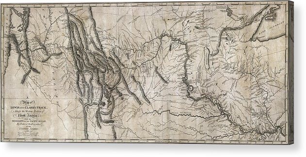 photograph relating to Lewis and Clark Printable Map known as Lewis And Clark Hand-drawn Map Of The Unfamiliar 1804 Acrylic Print