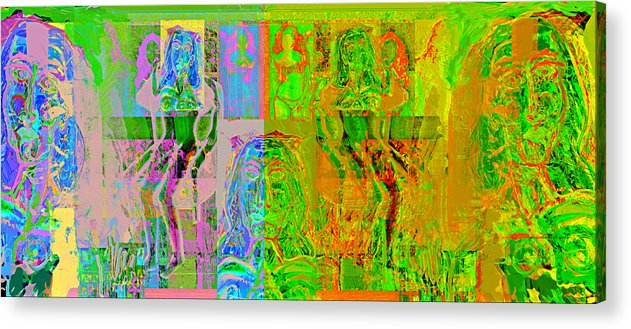 Human Composition Acrylic Print featuring the painting Pink Lounge II by Noredin Morgan