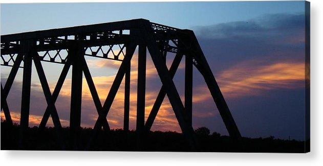 Bridge Acrylic Print featuring the photograph Train Bridge Sunset by Ana Villaronga
