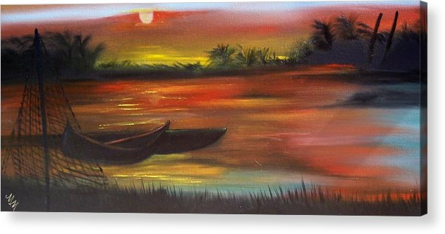 Sunset Acrylic Print featuring the painting African Sunset by Martha Mullins