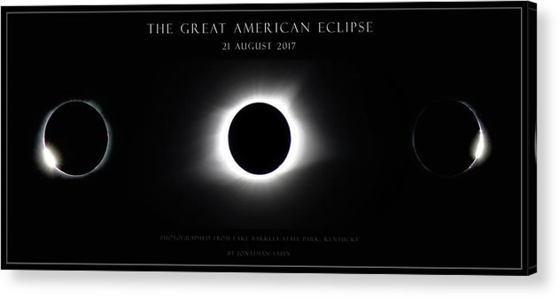 Great American Eclipse Acrylic Print featuring the photograph Great American Eclipse - Triptych by Jonathan Sabin