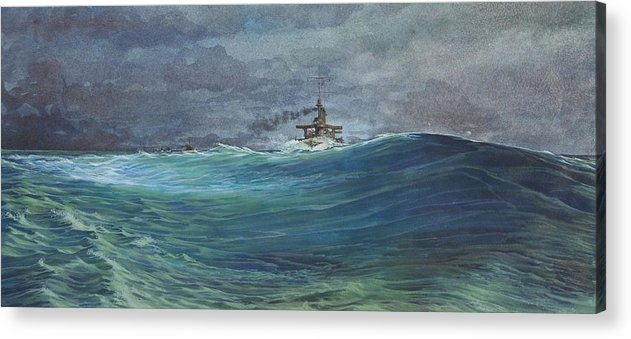 Seascape Acrylic Print featuring the painting Great White Fleet In A Squall by Stephen Bluto
