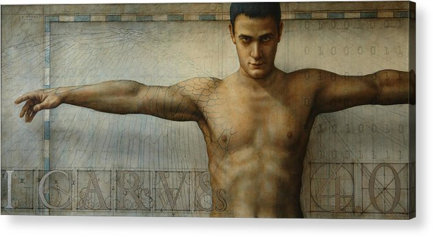 Icarus Acrylic Print featuring the painting Icarus 4.0 by Jose Luis Munoz Luque