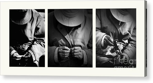 Rollup Rolling Cigarette Smoker Smoking Man Hat Monochrome Acrylic Print featuring the photograph Rolling His Own by Sheila Smart Fine Art Photography