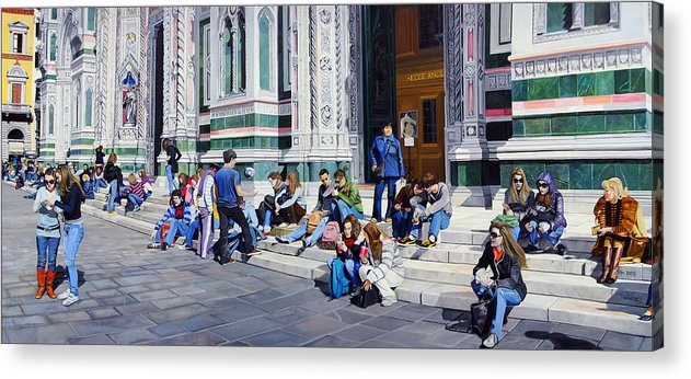 Cityscape Acrylic Print featuring the painting Sitting On The Steps Of The Duomo by Matthew Bates