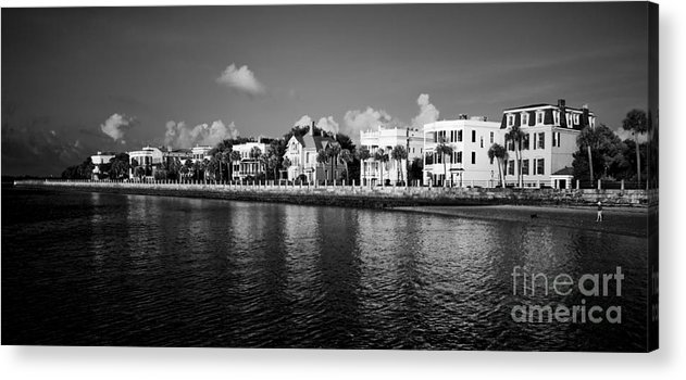 Battery Row Acrylic Print featuring the photograph Charleston Battery Row Black And White by Dustin K Ryan
