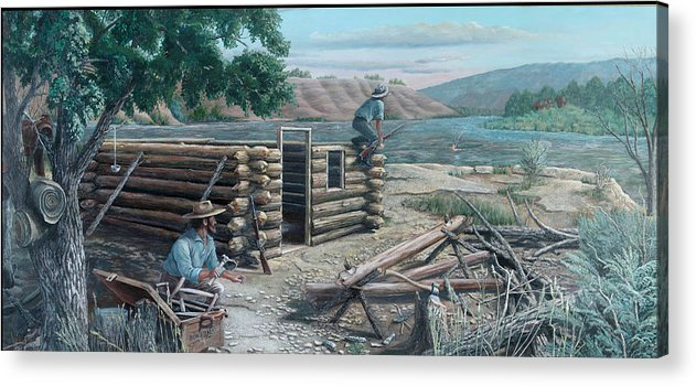 Pioneers Acrylic Print featuring the painting New Neighbors by Lee Bowerman