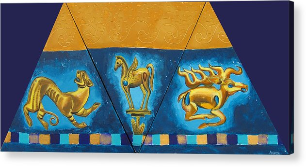 Abstract Acrylic Print featuring the painting Scythian Gold 5 by Aliza Souleyeva-Alexander