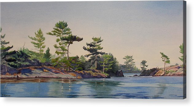 Rocks Acrylic Print featuring the painting Stoney Lake Morning by Debbie Homewood