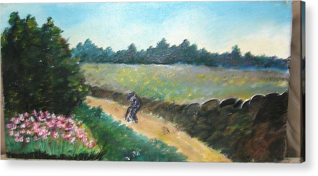 Art Acrylic Print featuring the painting Walking To Town by Anne-Elizabeth Whiteway