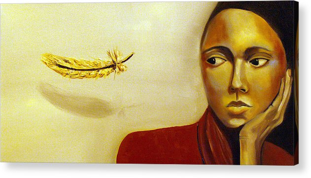 Portrait Acrylic Print featuring the painting Maybe Angels by Niki Sands