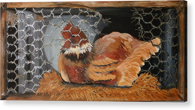 Roosters Acrylic Print featuring the painting The Wait by Gigi Desmond