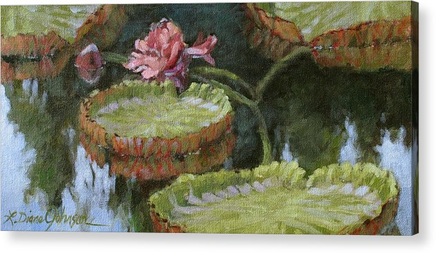 Lily Pond Acrylic Print featuring the painting Autumn Blossom by L Diane Johnson