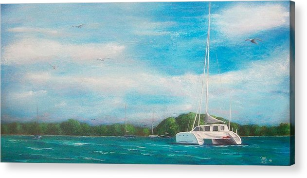 Seascape Acrylic Print featuring the painting Catamaran In Salinas Harbor by Tony Rodriguez