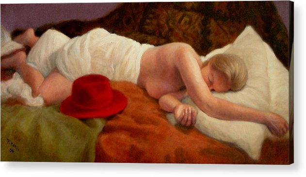 Realism Acrylic Print featuring the painting Red Hat 7 by Donelli DiMaria