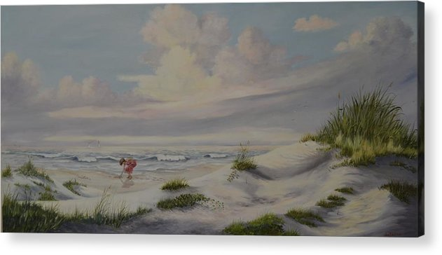 Landscape Acrylic Print featuring the painting Shadows In The Sand Dunes by Wanda Dansereau