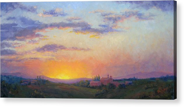Sunset Acrylic Print featuring the painting Sunset Over Tuscany by Bunny Oliver