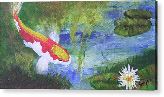 Koi Acrylic Print featuring the painting Kohaku Koi And Water Lily by Barbara Harper