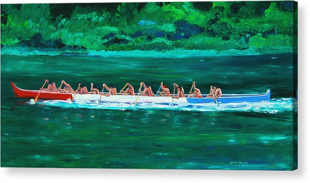 Water Paintings Acrylic Print featuring the painting war canoe races 1977 Nooksack tribe Wa by George Chacon