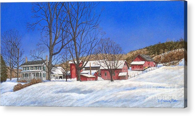 Landscape Acrylic Print featuring the painting Batteases Farm In Winter by David Francis