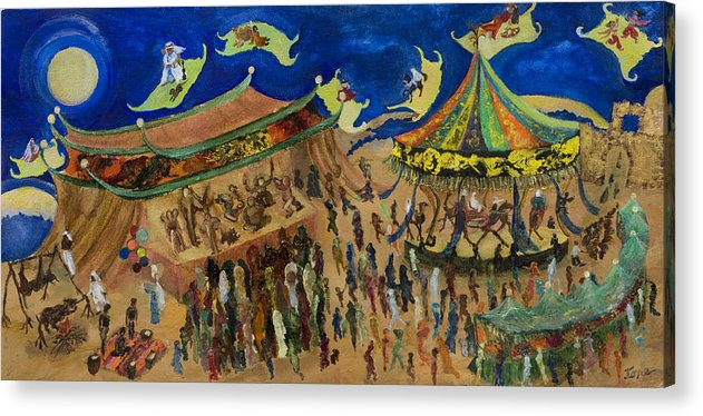 Flying Carpets  Acrylic Print featuring the painting Flying Carpets  by Ione Citrin