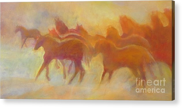 Horses Acrylic Print featuring the painting Foolin Around I by Kip Decker