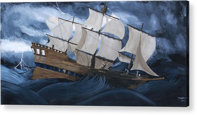 Ship Acrylic Print featuring the painting Fury by Tammy Dunn