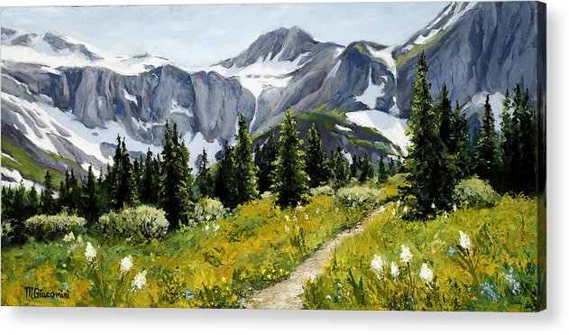 Mountains Acrylic Print featuring the painting Goals by Mary Giacomini