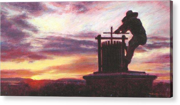 Wine Painting Acrylic Print featuring the painting Grape Crusher Napa Valley Sunset by Takayuki Harada