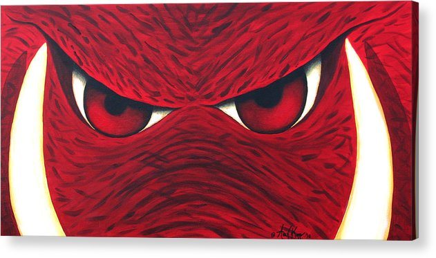 Arkansas Razorback Acrylic Print featuring the painting Hog Eyes 2 by Amy Parker