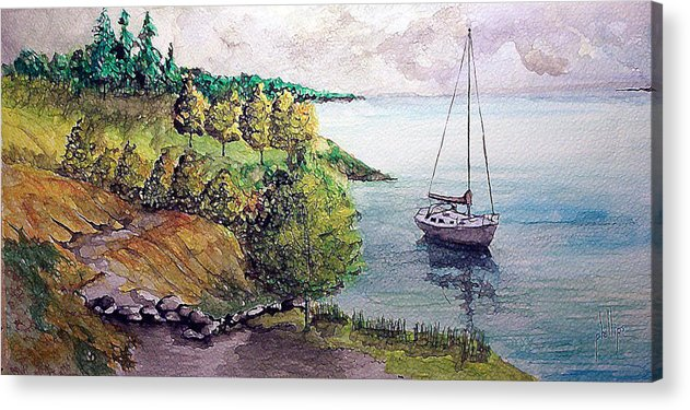 Sailboat Acrylic Print featuring the painting Lazy Lakeside Day by Jim Phillips