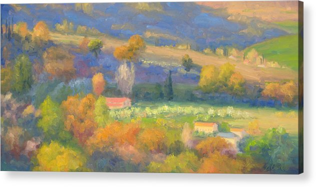 Tuscany Acrylic Print featuring the painting Lengthening Shadows - Tuscany by Bunny Oliver