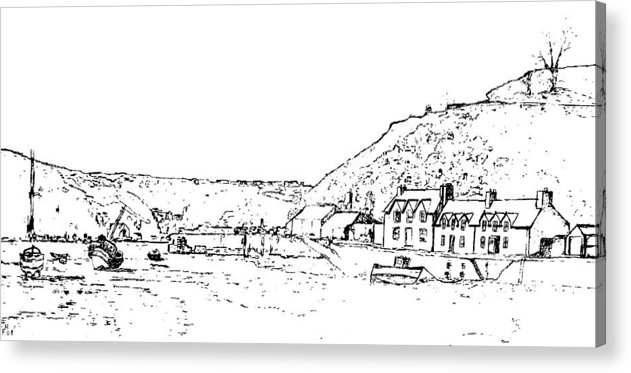 Landscape Acrylic Print featuring the drawing Lower Fishguard by Frank Hamilton