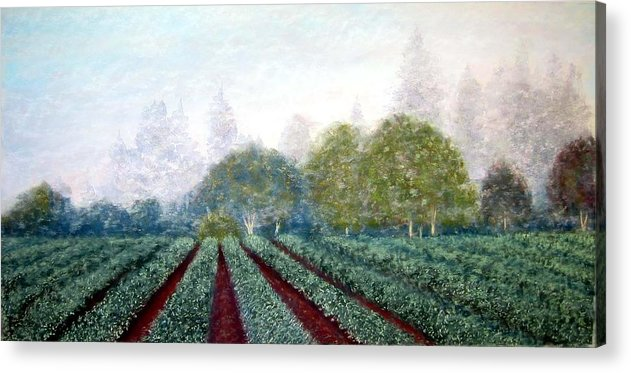 Landscape Acrylic Print featuring the painting Misty Blue by Carl Capps