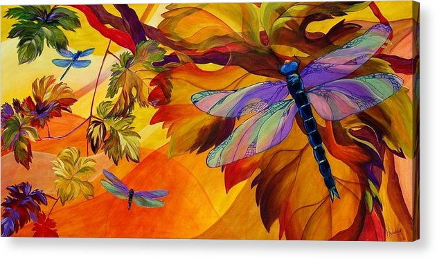 Dragonfly Acrylic Print featuring the painting Morning Dawn by Karen Dukes