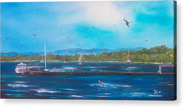 Seascape Acrylic Print featuring the painting Private Dock by Tony Rodriguez