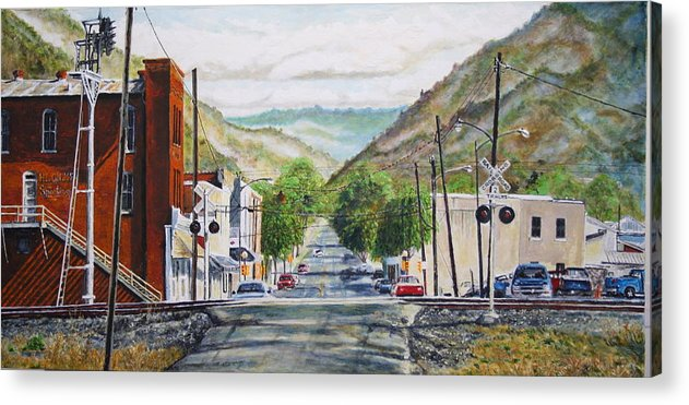 Appalachia Acrylic Print featuring the painting Rainbow In Rust by Thomas Akers