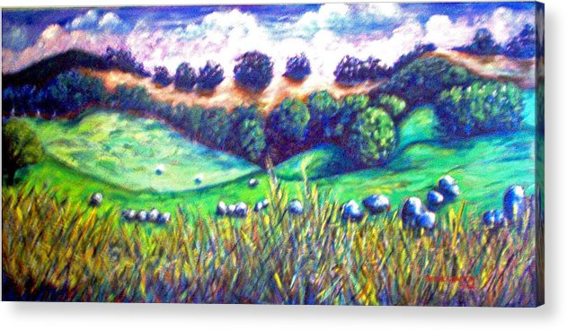 Landscape Acrylic Print featuring the painting Santa Rosa Plateau by Steve Lawton
