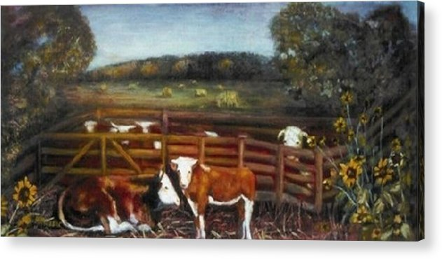 Calf Acrylic Print featuring the painting Separation by Helen Musser