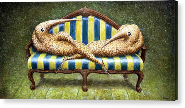 Sofa Acrylic Print featuring the painting Siamese Twins by Lolita Bronzini