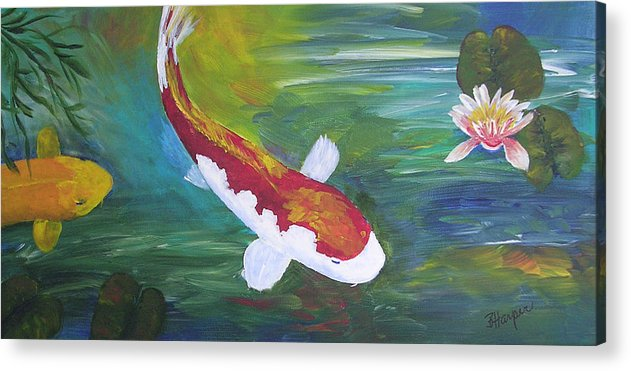 Koi Acrylic Print featuring the painting Two Koi And Water Lily by Barbara Harper