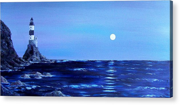 Seascape Acrylic Print featuring the painting Sakhalin Lighthouse by Tony Rodriguez